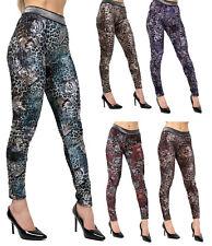 Women's Sexy Crushed Velvet Velour Multi Colour Leopard Signature Legging Pants