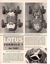 1961 LOTUS FORMULA 1 ~ ORIGINAL 4-PAGE ARTICLE