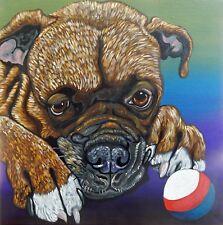 Tan Boxer-Play Ball-  Dog Pet Art Original 10 x 10 Canvas Painting-Carla Smale