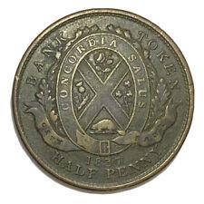 1837 Canada 1/2 Penny City Bank Token Coin