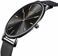LIGE Unisex Watch Fashion Simple Slim Waterproof Men Women Watches Analog Quartz
