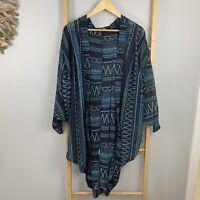 Mika & Gala Size S - M Blue Aztec Beach Kimono Geometric Beach Gown Batwing LY
