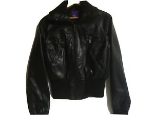 Women's Size Large Faux Leather Miley Cyrus Max Azria Black Bomber Jacket