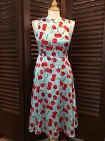 Women's Retro Cherry Print Dress Rockabilly Pin Up Blue & Red Satin Sz Small NWT