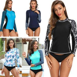 Women's Long Sleeve Rash Guard UV UPF 50+ Sun Protection Swim Shirts Surf Top