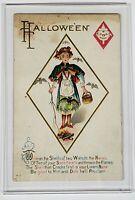 Vintage Antique 1900's Halloween Post Card Holiday Girl In Dress Bats Quote