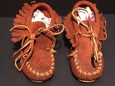 Vintage Handmade Livery Stable Kids Brown Leather Moccasins w/ Rubber Soles