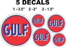 5 Round Gulf Gasoline Vinyl Decals