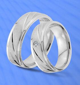 2 schöne Ringe Partnerringe Trauringe mit Stein , GRAVUR GRATIS  JE8-1