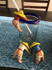Mexican Straw Holder for Drink Glasses - Fun Conversation Pieces - lot of 3 -EUC