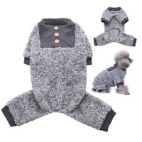 Warm Dog Fleece Pyjamas Pet Winter Clothes Small Puppy Cat Jumpsuit Gray Coat