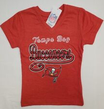Tampa Bay Buccaneers NFL Team Apparel Youth Girls V-Neck Tee Shirt XL (14/16)