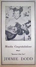 "New listing 1958 Rare ""Jimmie Dodd"" 'Walt Disney'S Mickey Mouse Club' Fractional Pr Ad"