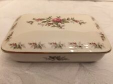 ROSENTHAL GERMANY MOOSROSE COVERED TRINKET / CANDY BOX GOLD TRIM