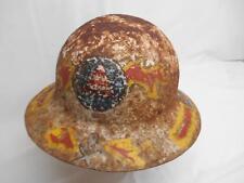 Old Vtg CIVIL DEFENSE METAL HELMET HARD HAT WWII Home Front Distressed