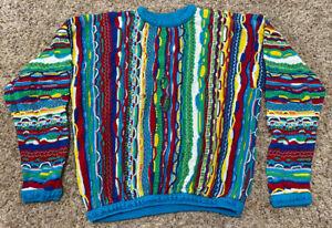 RARE 90s Vintage COOGI Australia BIGGIE-MCGREGOR Sweater FIRE Vaporwave Size XL