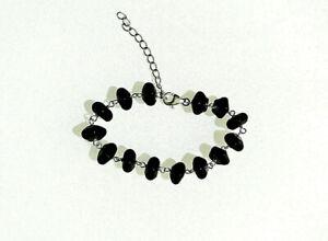 Sterling silver black Onyx bracelet TGGC Gemporia 6.75 inches + extension 13.3g
