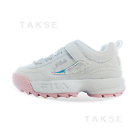 New FILA KIDS Disruptor II 2 KD WHITE/PINK FK1HTB1002X 170-210mm TAKSE 3GM01089