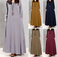 ZANZEA Women's Long Sleeve V Neck Long Maxi Dress Baggy Kaftan Shirt Dress Plus