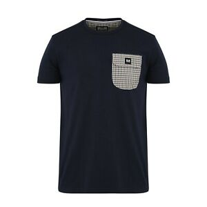"""WEEKEND OFFENDER """"LUCKY BAY"""" CHECK POCKET T-SHIRT NAVY, NEW! MOD-CASUAL"""