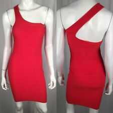 BCBG Generation XS Small Stretchy Ribbed Bandage Bodycon Red One Shoulder Dress
