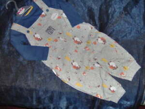 BABY BOYS 'UPSIDE DOWN' DUNGAREE & TOP SET  -AGES 0/3 - 3/6 - 6/9 - 9/12M