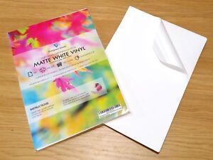A4 Vinyl White MATT Waterproof Self Adhesive Inkjet Laser Printable Sticker HQ