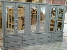 HANDMADE AYELSBURY GREY 8 DRAWERS 6 MIRRORS DOORS ( IN 4 PARTS TO BRING EASY UPS
