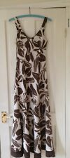 Per Una Ivory Brown Leaves Print 100% Linen Straps V Neck Maxi Dress Size 8L