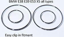 NEU BMW E39 E39 E53 X5 tachoringe gauge ring instrument cluster poliert chrom M5
