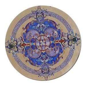 Schwarz Marmor Esstisch Lapis Pietra Dura Handgefertigt Mosaik Inlay Art Dekor