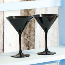 Set of 2 Black Polycarbonate Martini Cocktail Glasses Wine Champagne Saucers