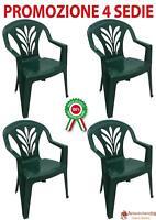 4 Pz Poltrona sedia Taormina in dura resina di plastica verde impilabile con bra