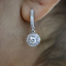 1.60 Ct Round Diamond Dangle Drop Earrings F/Vvs1 Clarity 14k White Gold