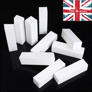 NAIL BUFFER BLOCK WHITE PINK ACRYLIC BUFFING SANDING FILE MANICURE UK STOCK