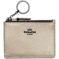 Coach Women's Mini Skinny ID Case Wallet key chain Leather GM/Platinum