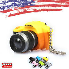 New Mini Digital SLR Camera LED Light Flashlight Sound Keychain Key Ring- Yellow