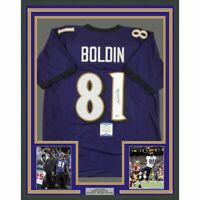 FRAMED Autographed/Signed ANQUAN BOLDIN 33x42 Baltimore Purple Jersey BAS COA