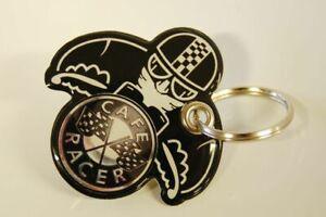 Key Chain Resina Compatible Con Moto - Estilo Negro Piloto Cafe Racer