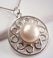 Pearl 925 Sterling Silver Necklace Infinity Symbols Say Forever Love New