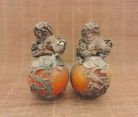 EXQUISITE CHINESE SILVER DRAGON INLAID YELLOW JADE HAND CARVED PAIR LION STATUE