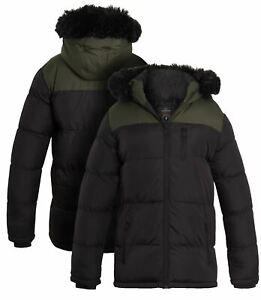 Boys Padded Parka Coat Ages 7 8 9 10 11 12 13 Years Jacket Faux Fur Black Khaki