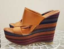 Funky Tan leather Valeria Grossi wedges, striped wedge heel, VG condition