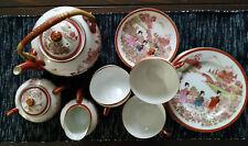 Asiatisches Teeservice aus feinem Porzellan/21teilig/Teekanne/Tassen/Teller