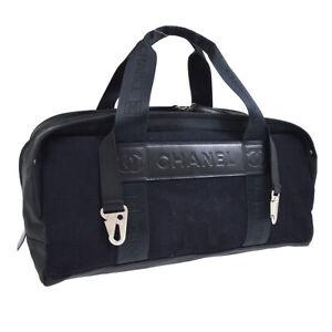CHANEL Sport Line CC Travel Hand Bag Purse 9266673 Black Navy Wool 10474