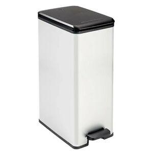 Curver 40L Stainless Steel Slim Bin Kitchen Rubbish Bin Waste Home Office