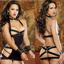 3PCS Sexy-Women's-Lingerie+G String-Dress-Underwear-Babydoll-Sleepwear+Handcuffs