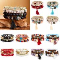 Multi-layer Boho Women Stretch Natural Stone Beads Tassel Bracelet Charm Bangle