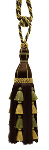 "Elegant Gold, Olive Green, Mocha Brown 13"" Large Multi-Tiered Tassel Tieback -"