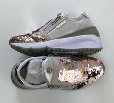 VERSACE JEANS Leather Sparkly Sequin Wedge Trainers Size UK 5 EUR 38 BNIB